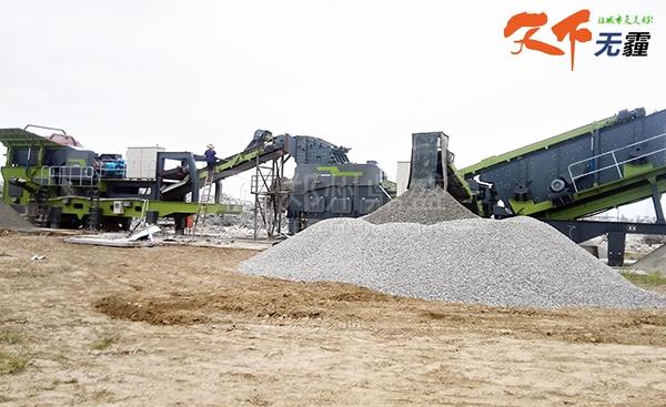 郑州鼎盛移动式建筑垃圾处理设备破碎混凝土
