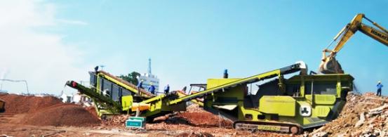 山东时产250吨履带式移动破碎站