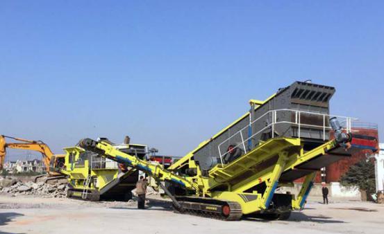 上海时产250吨履带式移动破碎设备